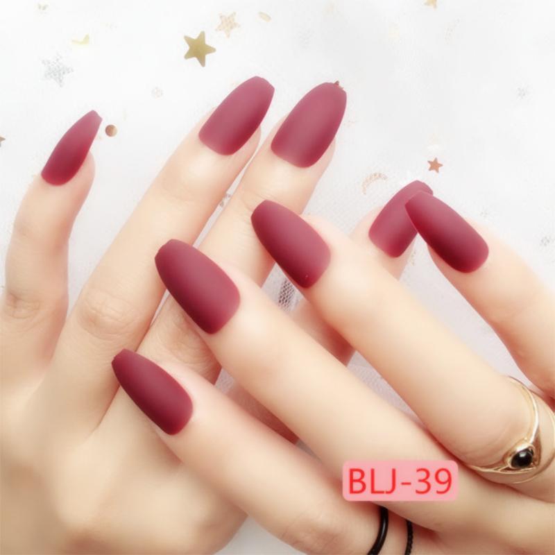 Fashion Matte Ballerina False Nails Pre Design Black Pink Red Coffin