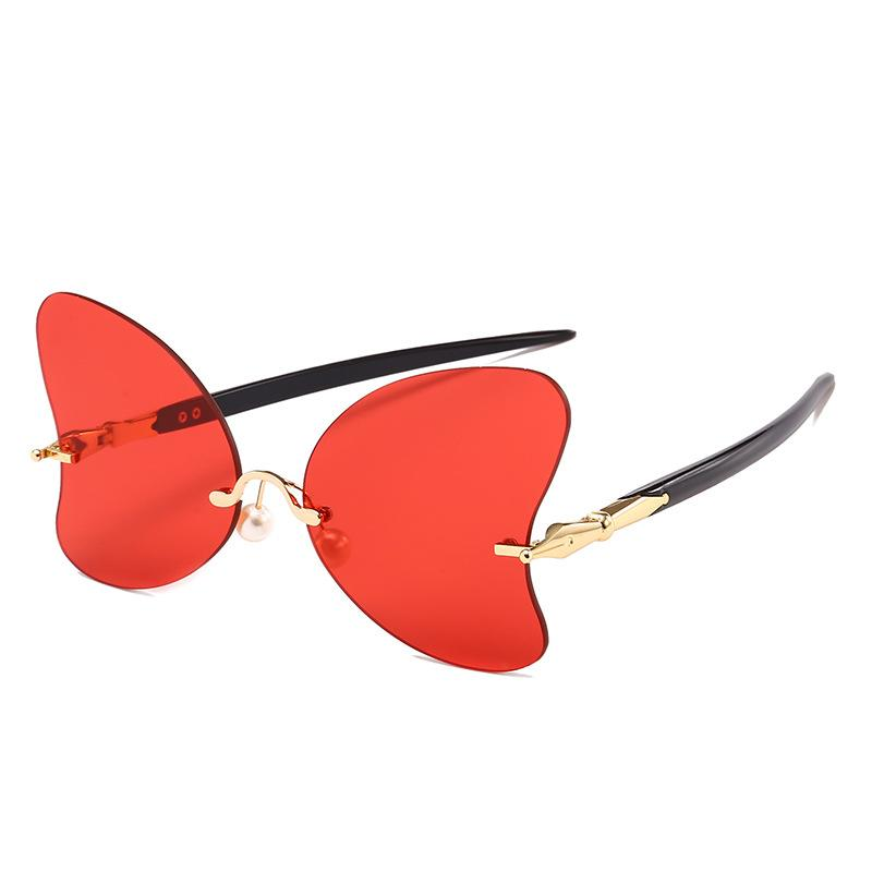 2018 Hot Butterfly No Frame Pearl Nose Support Red Sunglasses ...