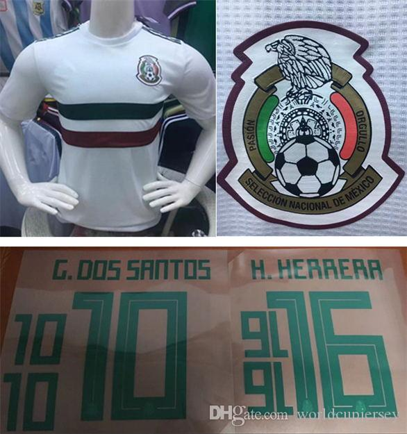 d9173b9e37a1b Versión Para El Jugador México Visitante Camiseta De Fútbol Blanca 2018  Copa Del Mundo México Visitante Casa Blanca Verde   14 CHICHARITO LOZANO  LAYUN ...