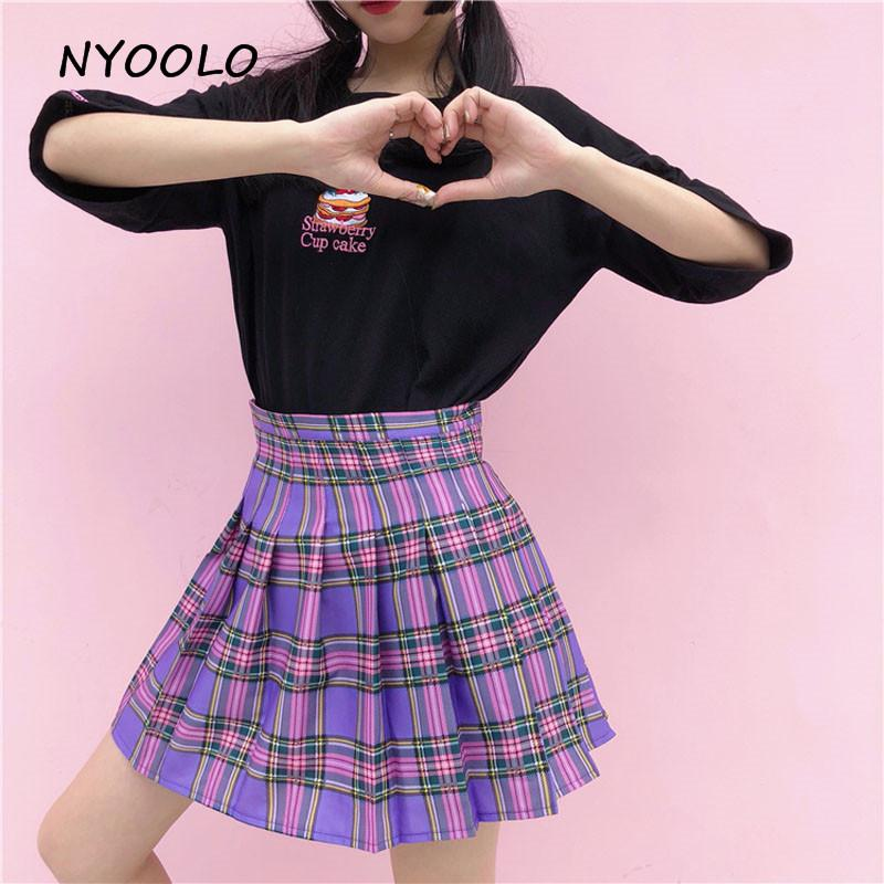 52dd25bfde44 2019 MYOOLO Sweet Style Harajuku Purple Plaid Skirt 2018 Summer High Waist  Pleated A Line Mini Skirt Women From Edward03, $29.74 | DHgate.Com