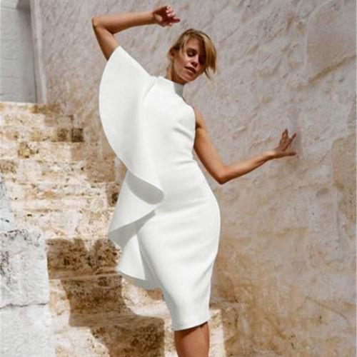 2018 New Trendy Women One Shoulder Dress Summer Boho Solid White Ruffle  Party Beach Dresses One Pieces Clubwear Dresses Designer Evening Dresses  From ... 3ed498a9ac9ec