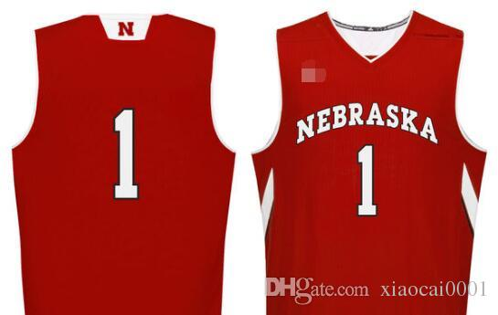 Men s  1 Scarlet Nebraska Cornhuskers Basketball Jersey Embroidery ... 79a539d51