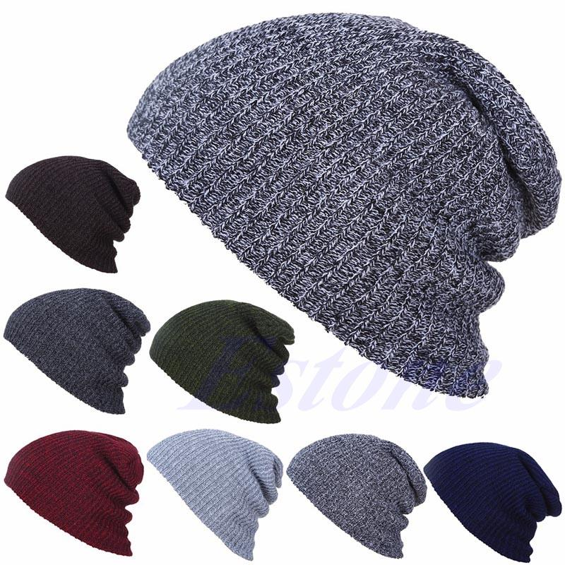 10aa90be317 NEW Men Women Winter Skull Chunky Knit Beanie Baggy Oversize Cap Warm  Unisex Hat Ladies Hats Crazy Hats From Jutie
