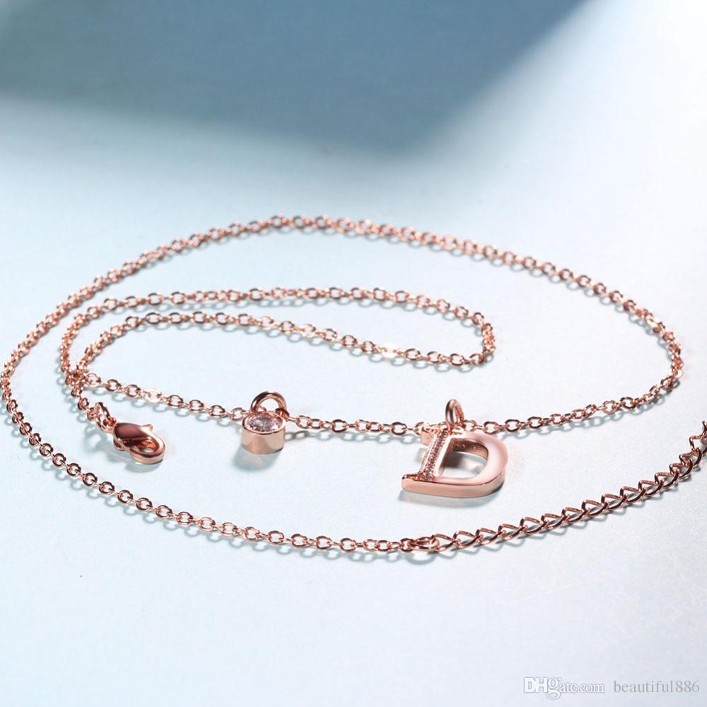 Moda Zirconia Letra D Colares Pingentes Para As Mulheres Meninas Rose cor De Prata Na Moda elegante Marcas de Luxo Presente Da Jóia