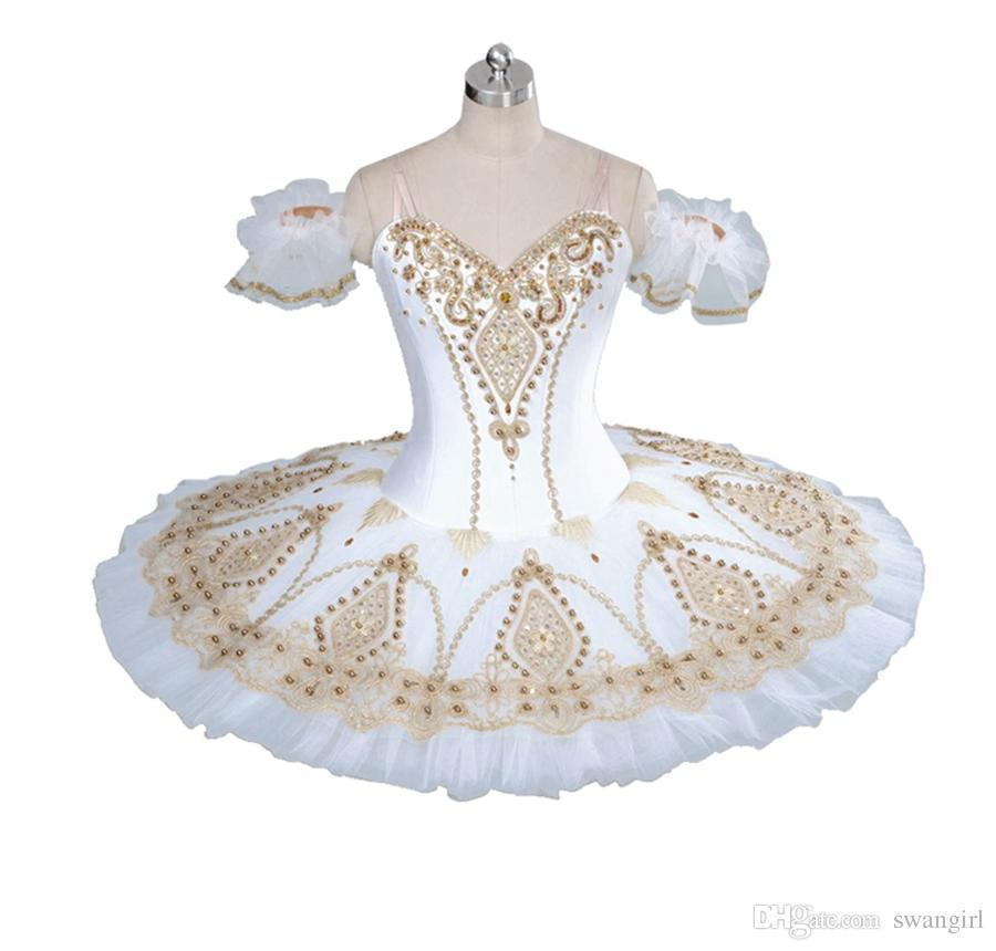 cca6becdc397 2019 Adult Professional Ballet Tutu White Gold Fairy Doll Pancake Platter  Performance Tutus Women Classical Ballet Stage Costumes BT9056 From Swangirl,  ...