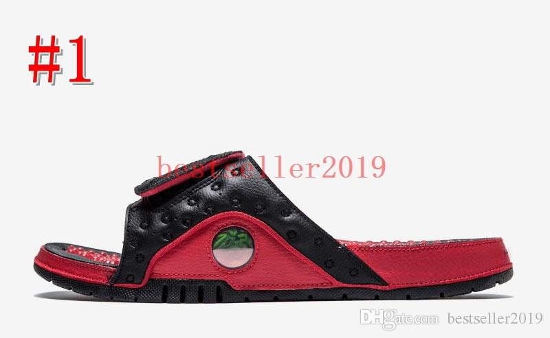 2018 New Hydro 13 Sandals XIII Real Cat Eye Men Slippers for High Quality 13s Designer Slides Slipper Black Red White Casual Shoe