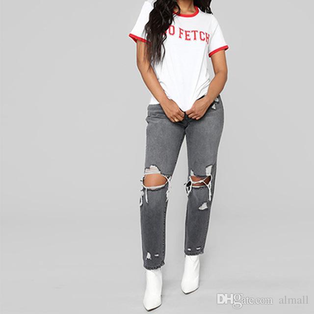 1c6e23cb4c0ecf Grand Crayon Déchiré Haute Taille Mode Trou Femmes Jeans Acheter zwqF5f