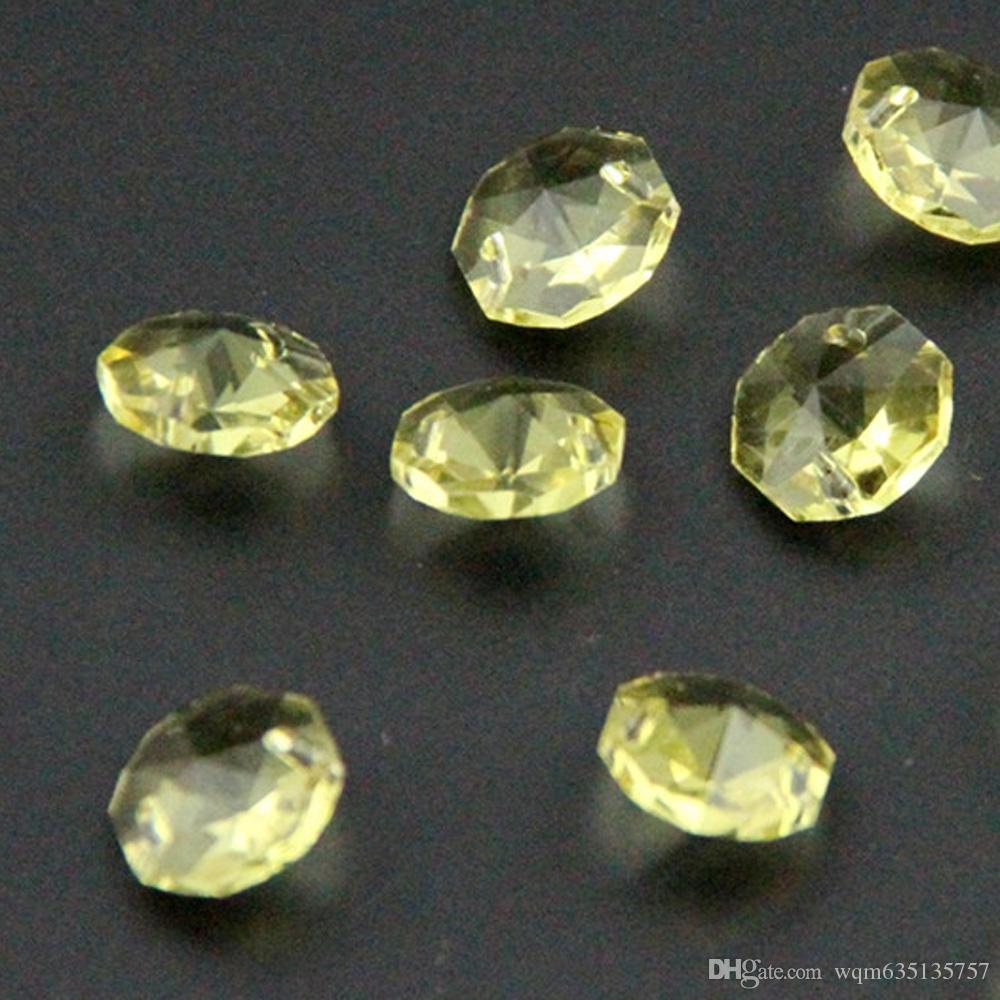 200 adet 2 Delik 14mm K9 Kristal Cam Sekizgen Boncuk Avize Boncuk Parçaları Düğün Ev Dekorasyon WQM77