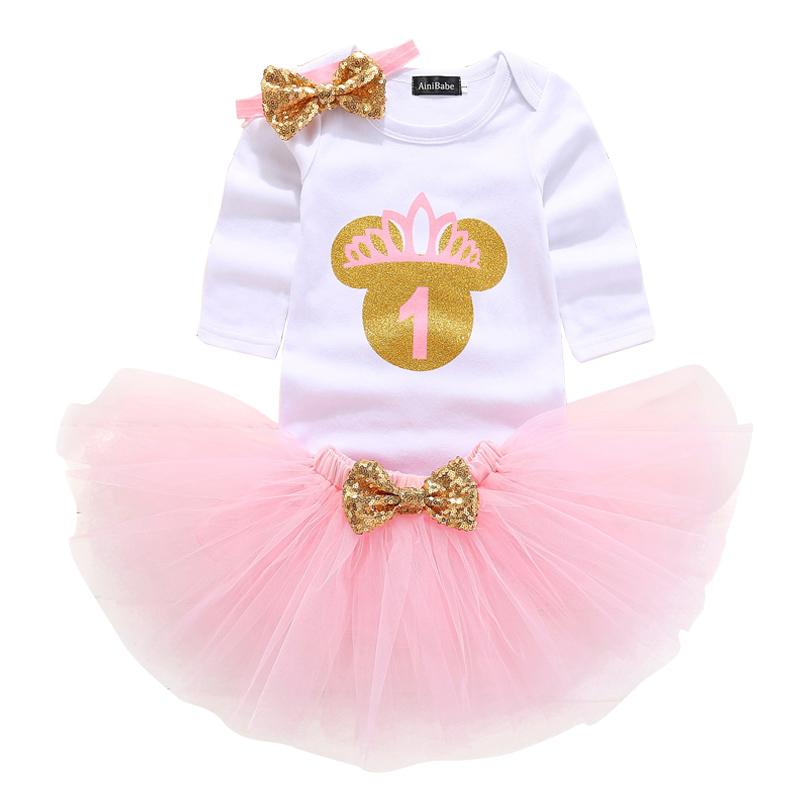 2019 Kids Dresses For Girls Tutu Birthday Outfits Baby Girl 1 Year 1st Gift Cute Headband Christening Wear Dress From Entent 3391