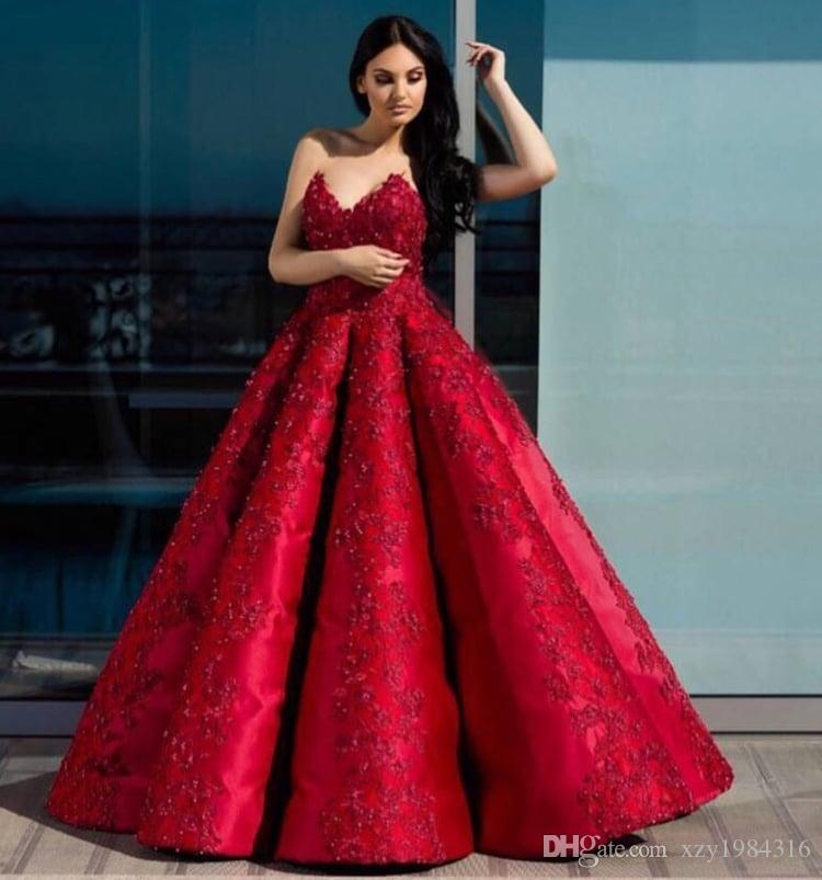 a5d8ac9834e4 Simple V Neck Red Ball Gown Prom Dresses Sleeveless Beads Lace Appliques  Arabia Women Formal Wear Elegant Floor Length Evening Dress Jj Prom Dresses  Le ...