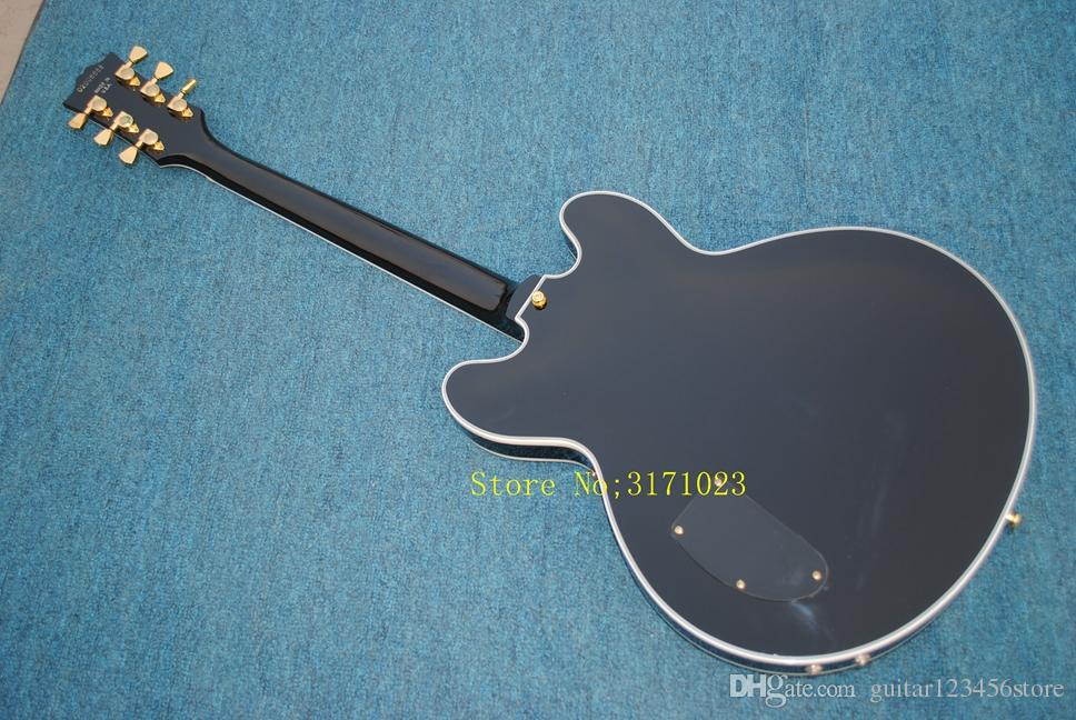 New style Top Quality Jazz Electric Guitar, Matte Black Hollow Body Guitarra ,Some countries