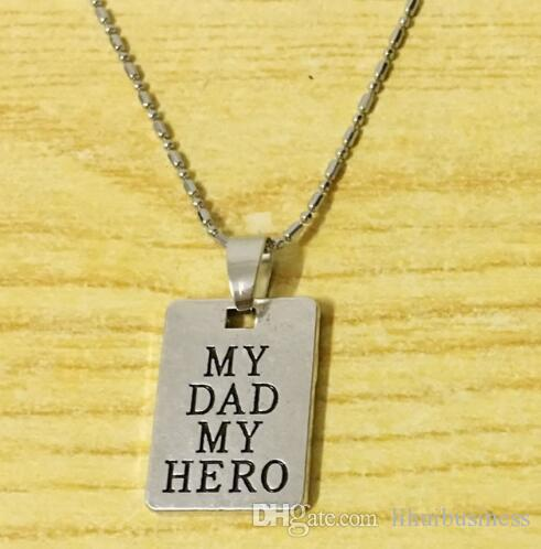 10 adet / grup kolye kolye My Dad Benim Kahraman Kolye El Damgalı Hediye O'na Baba / Baba Kaybı Baba Kaybı Anıt Hatırlama Takı Hediye