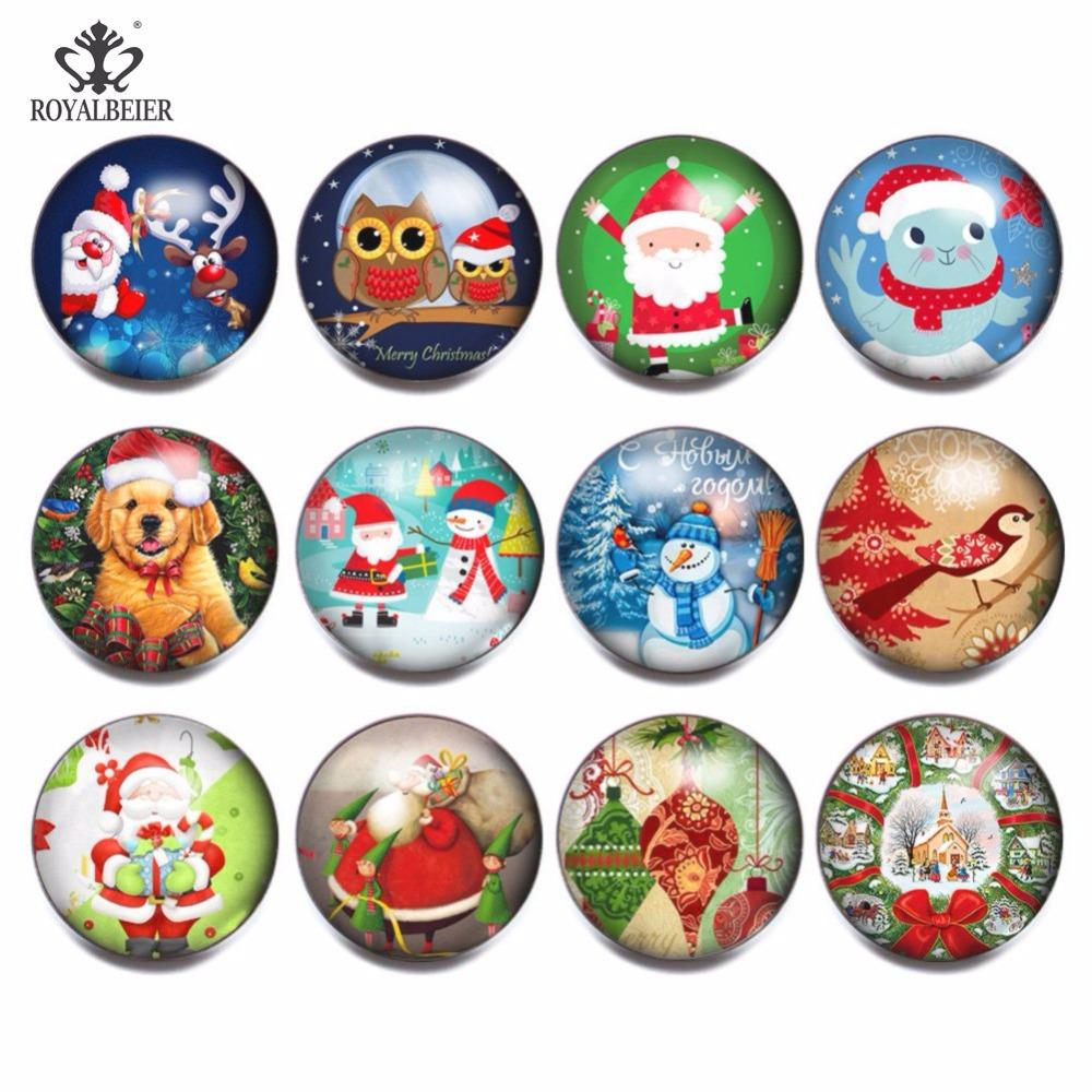 Royalbeier Vintage Christmas Ornaments Diy 18mm Glass Snap Button