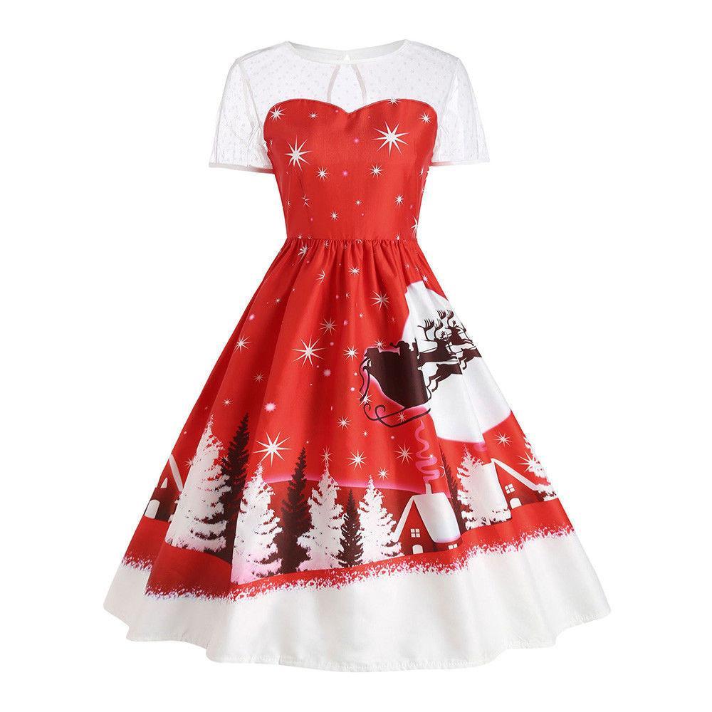 baade4949de2b Mode de style de Noël femmes s habillent Vintage De Noël O-Cou Imprimé À  Manches Courtes A-Line Robe Swing Robe De Bonne Qualité Robe Curto