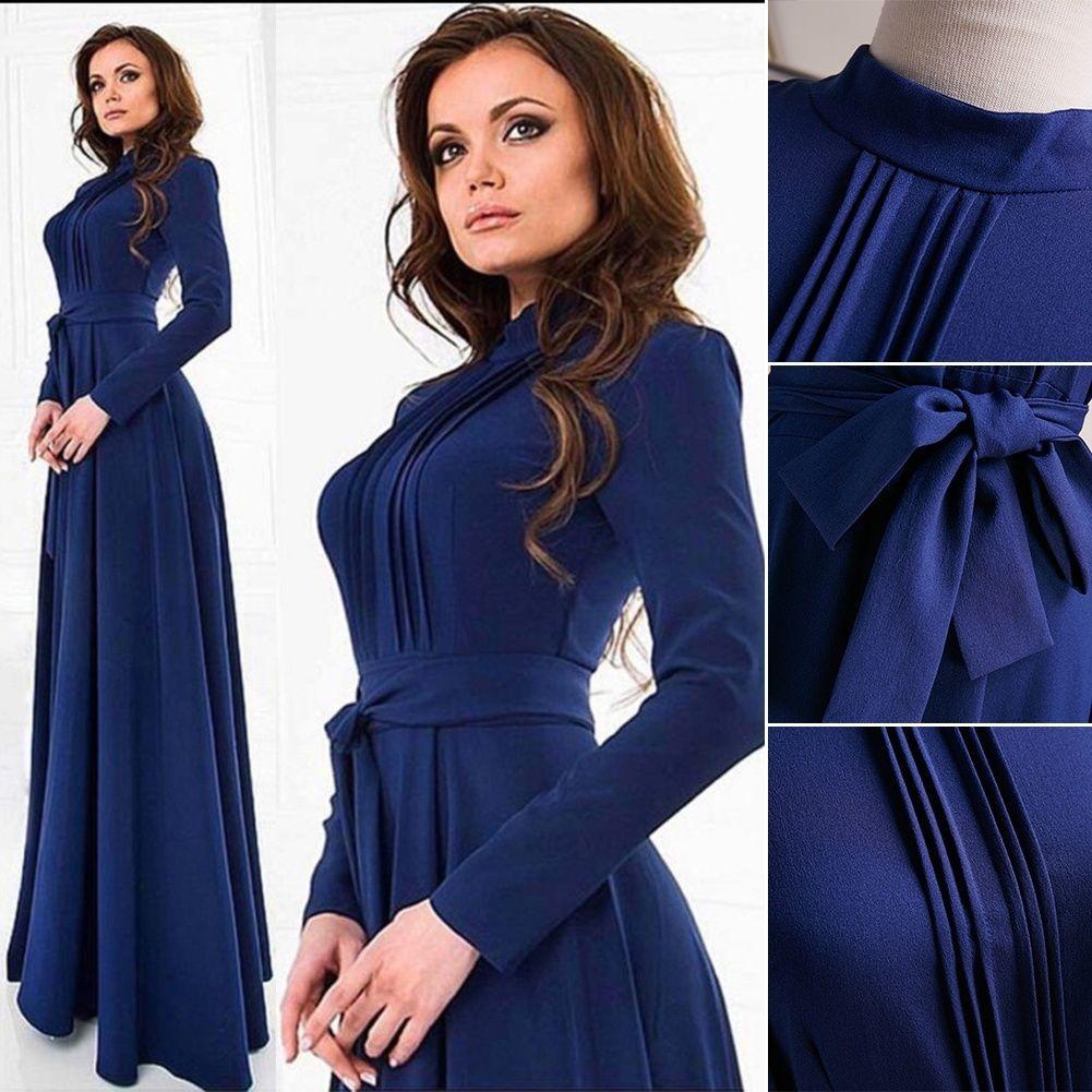 6ab04e0f9f8 2019 Vintage Womens Kaftan Abaya Islamic Muslim Cocktail Long Sleeve Long  Maxi Dress EJ13MT From Augusss