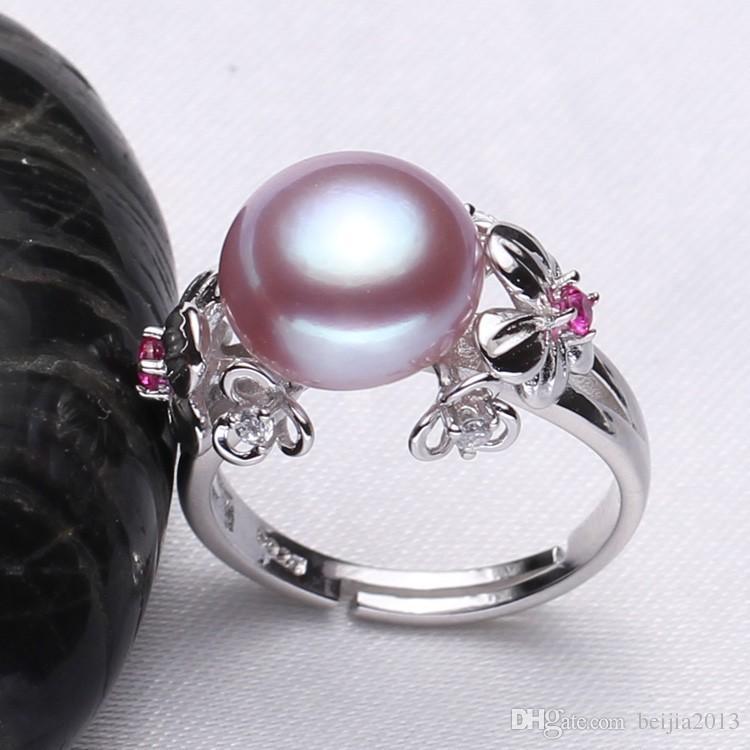 Gioielli in perle da 10-11mm, anelli di perle naturali amore, anello in argento 925 con perla d'acqua dolce, anelli in argento con rubini confezione regalo donna