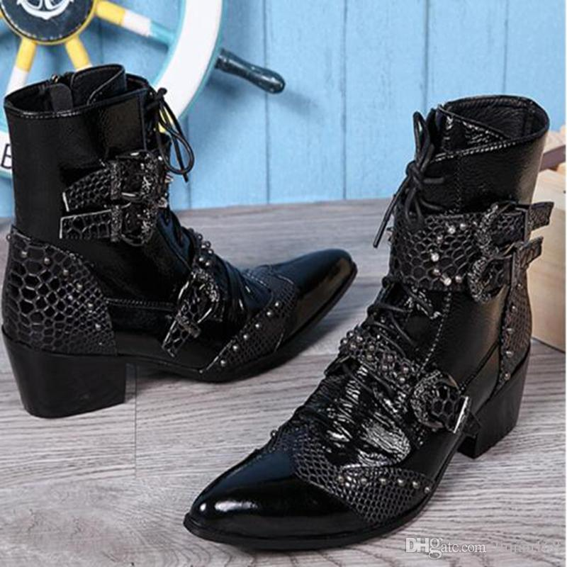 New Punk Style Genuine Leather Men Ankle Boots Iron Pointed Toe Lace Up Mens Military Cowboy Boots High Top Buckles Botas Hombre
