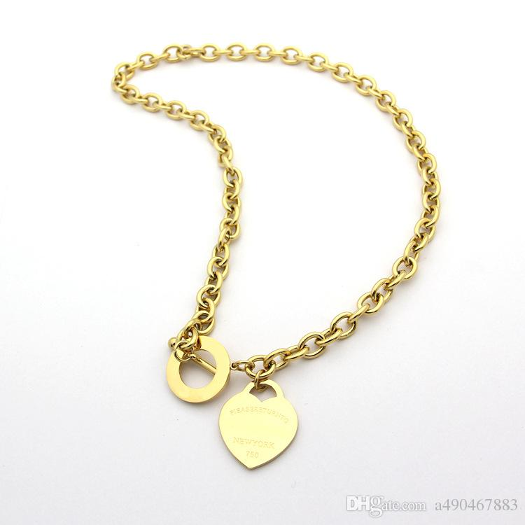 famous brand jewerly 316L titanium Steel 18K gold plated necklace short chain silver man heart necklace pendant for women couple gift