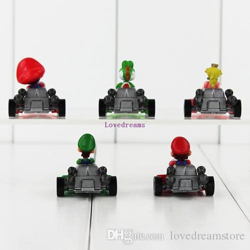 Super Mario Bros Mario Figures Pull Back Car Kart PVC Figure Toys Luigi Yoshi Model Mini Gifts for Kids Phone Accessories
