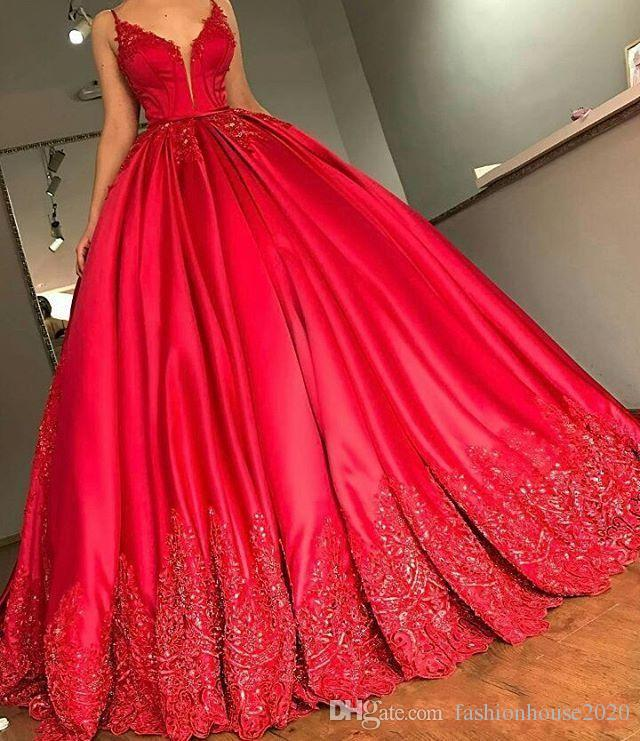 8dad0e7919 2018 Elegant Ball Gown Red Prom Dresses Spaghetti Straps V Neck Gold Lace Appliques  Beads Backless Court Train Long Evening Party Gowns Wear Lavender Prom ...