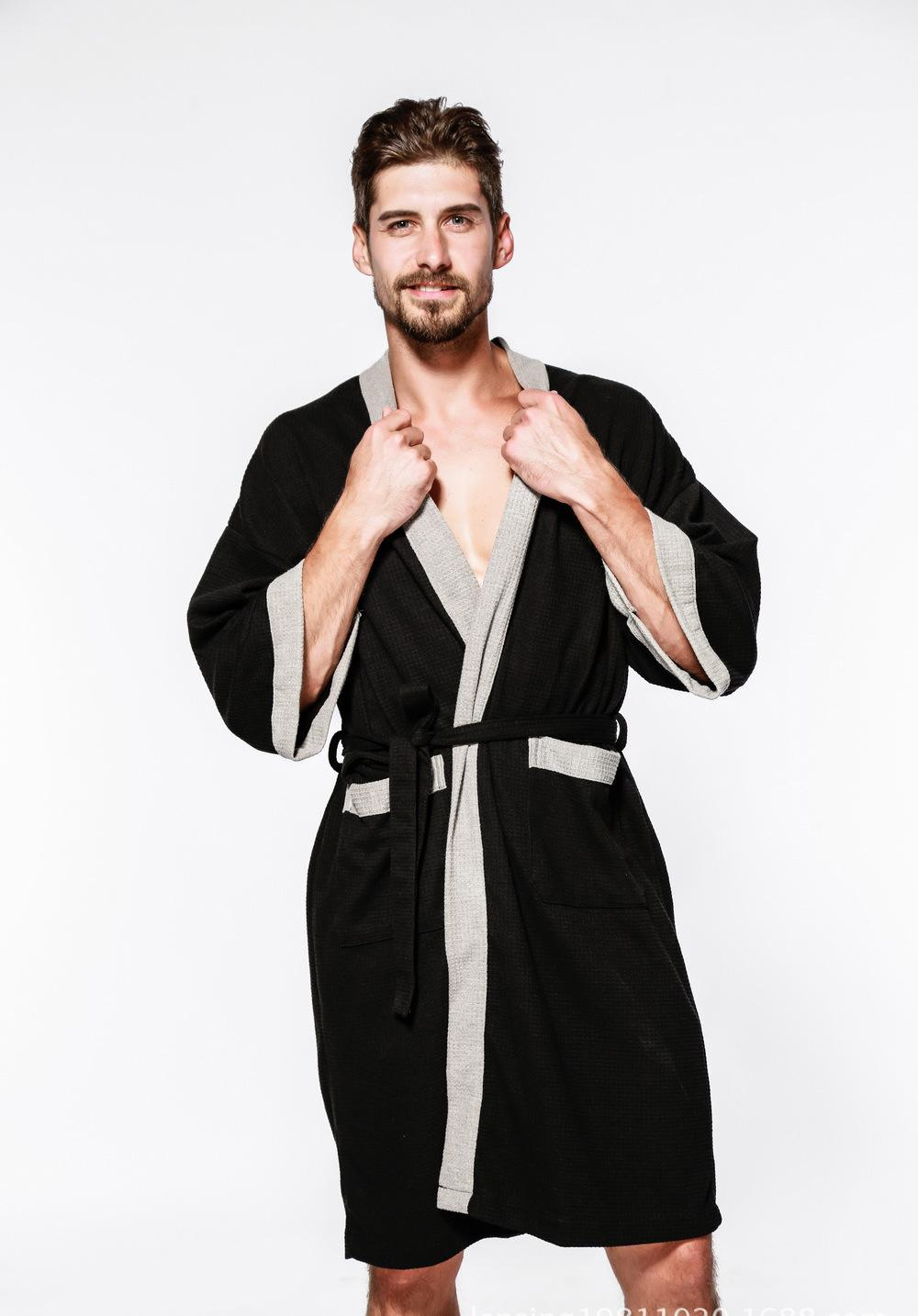 Waffle Bathrobe Cotton Dressing Gown Men Long Sleeve Waffle Sleep ...