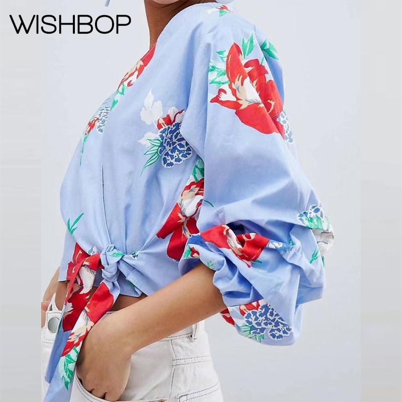 4517fd63589fba 2019 2018 Wishbop New Spring Summer Hawaiian Tropical Print Puff Sleeves  Blouse Women S Print Kimono Tops Women Hawaiian Shirts From Sweatcloth