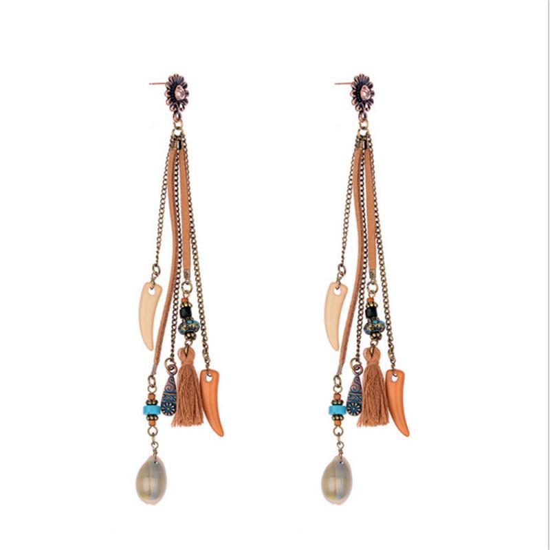 mitad de descuento 58752 c38ec Las mujeres de moda pendientes bohemios de la vendimia de la borla larga  flecos Boho cuelgan los pendientes de la joyería del partido encantos