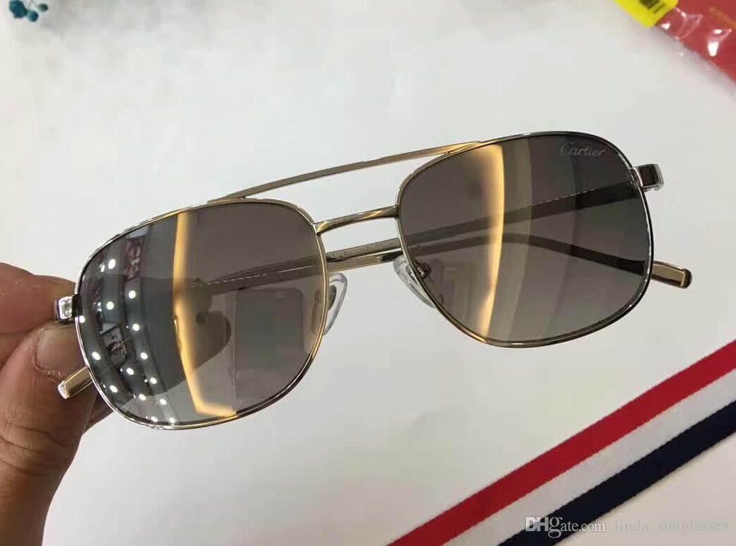2018 vintage Men FRAMES WOOD SLIVE GOLD SUNGLASSES Wood Half Rim Eyeglasses plated Santos Sunglasses New in Box numC20183