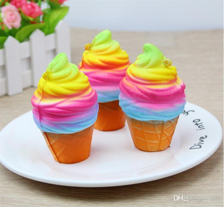 3D Squishy Rainbow Colored Ice Cream Charms Jumbo Rare Torch Slow Rising Phone Straps Pendant Squeeze Squishies Reliever Stress Toys gift