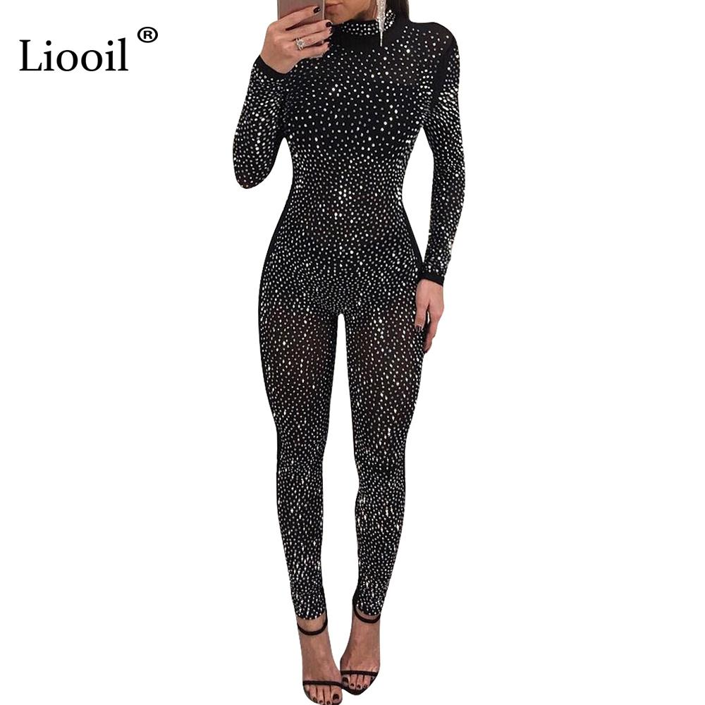2692976e1242 2019 Liooil Hot Drilling Sexy Jumpsuit Long Sleeve Turtleneck See Through Black  Mesh Women Rompers Bodycon Club Diamonds Jumpsuits From Huoxiang
