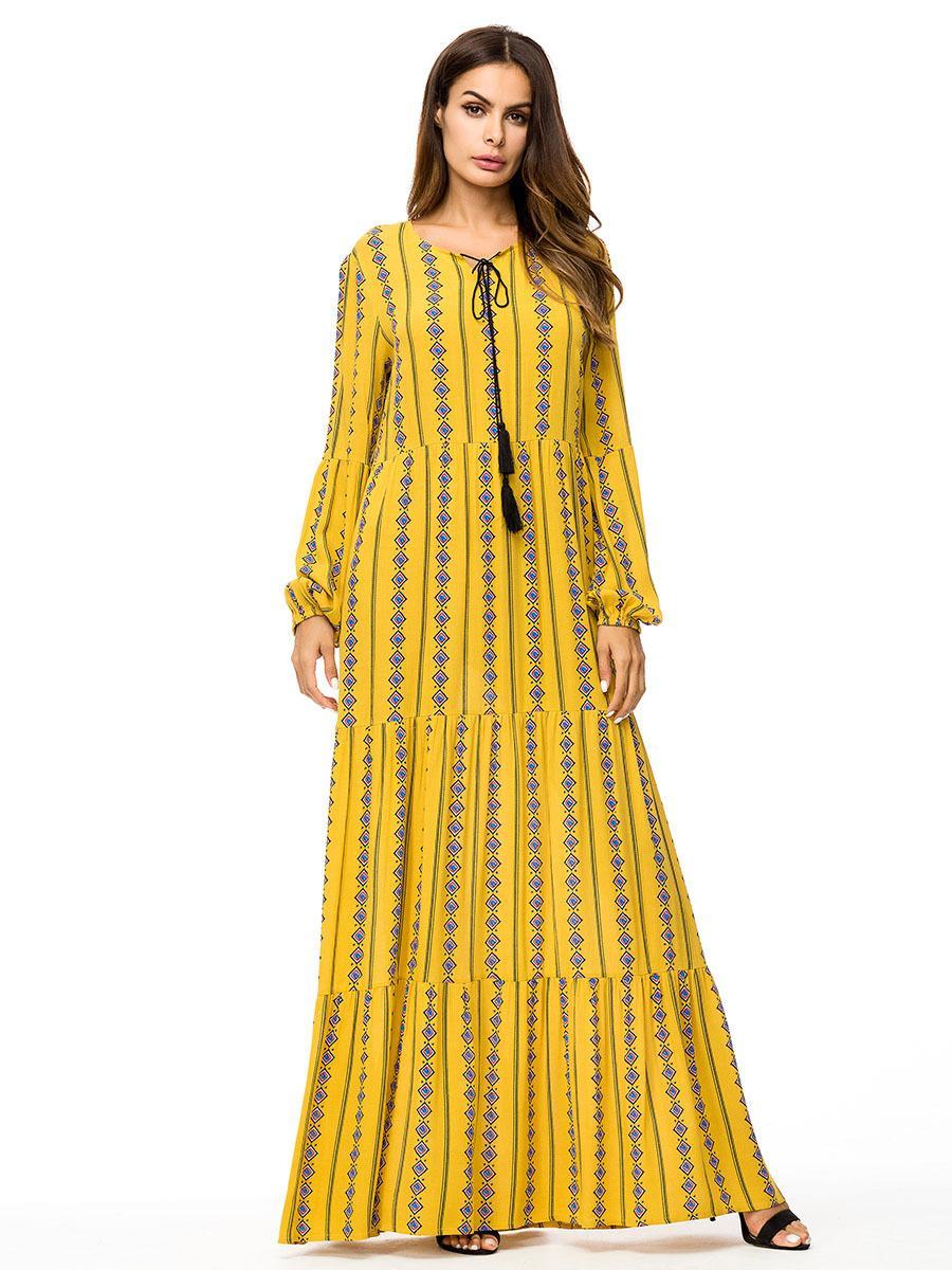 2019 Fashion Muslim Print Long Dress Autumn Fall 2018 Tall Women Maxi  Dresses Long Sleeve Swing Dress Arab Qatar UAE Jubah From Dujotree 8eec137a2