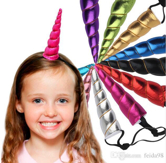 Unicorn Boynuzları Hairband Kostüm Headdress Renkli Saç Bandı Çocuk Saç Aksesuarları Doğum Günü Partisi Hediye GA172