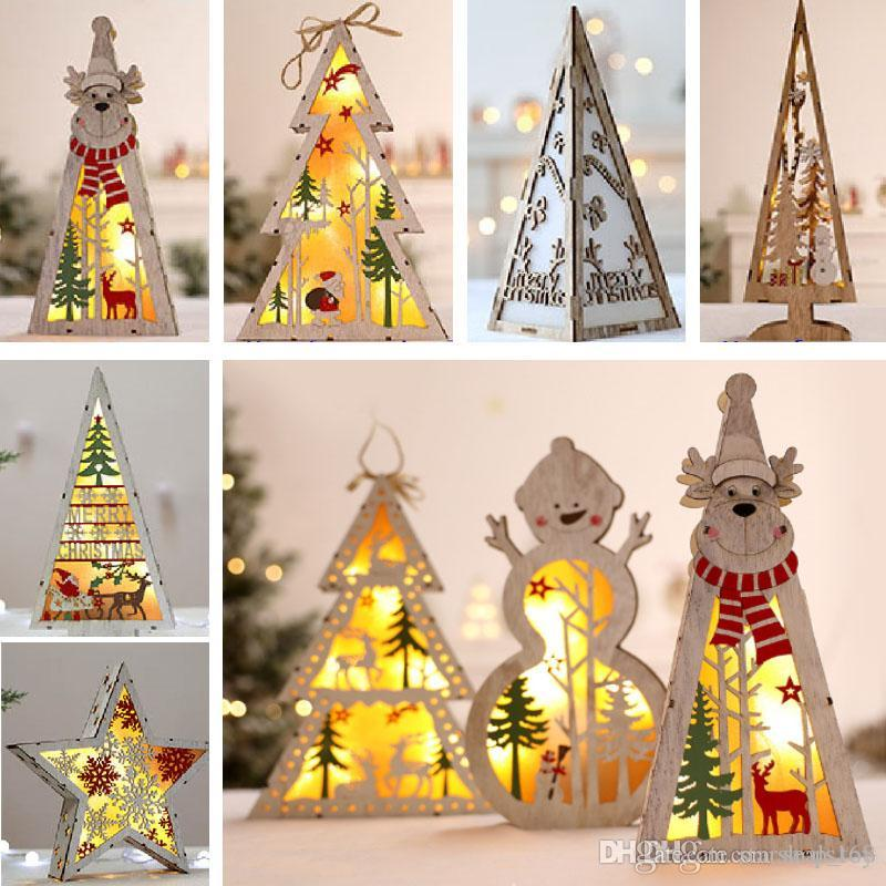 Led Lighted Christmas Tree Wooden Tree Decoration For Christmas Party Home Decor Desktop Window Hanging Pendant Shh7 1844 Christmas House Decorations