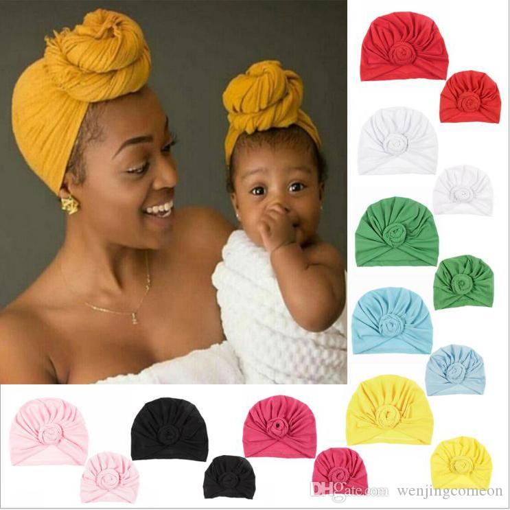 2ddd808bf43 Indian Style Parent-child Hats Flower Turban Yoga Pullover Hat Candy Color  Parent And Child Hat for Mother And Newborn Online with  3.66 Set on ...
