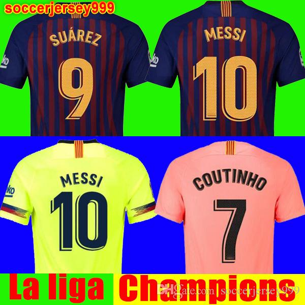 0f73a88898 Compre 2018 2019 FC Barcelona Soccer Jersey Football Shirt Camisola De  Futebol Messi COUTINHO Homens Adulto INIESTA O.DEMBELE 18 19 Camiseta De  Futebol ...