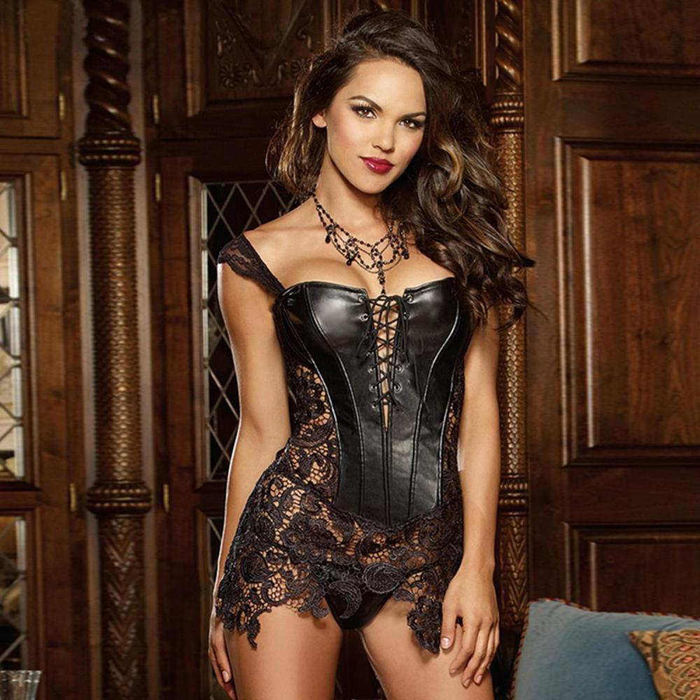 b0f1919140 Plus Size 6XL Sexy Burlesque Lingerie Gothic Faux Leather Steampunk ...