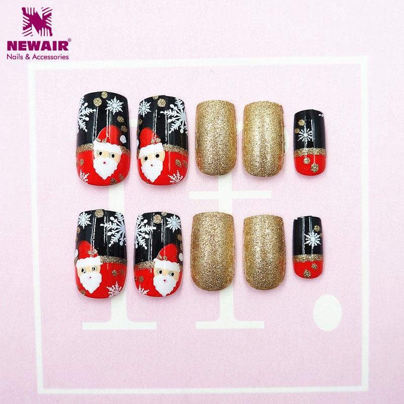 box christmas false nails with adhesive tapes santa xmas snowflake full cover fake nail art tips christmas gift decorations acrylic nail kits acrylic nail