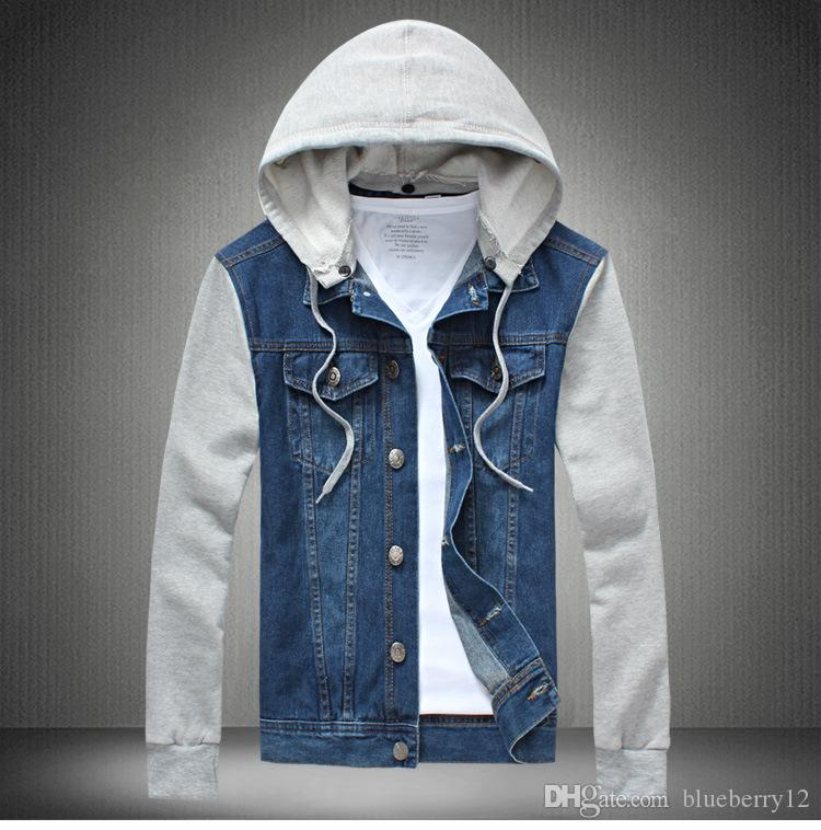 3de93f52ae Large Size Mens Jean Jacket 2018 Fashion Sleeve Panalled Slim Fit Denim  Jackets Hat Detachable Outerwears S To 5XL Open Jackets Jackets Coats Mens  From ...