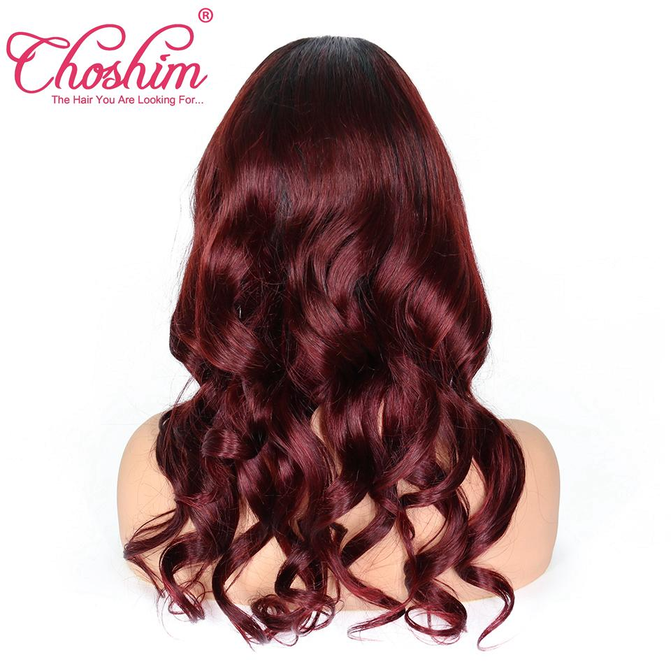 Choshim Lace Front Human Hair Wigs For Black Women Loose Wave T1B/99j Pre Plucked Remy Hair Ombre Lace Wig With Baby Hair