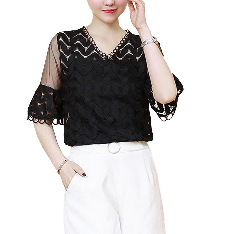 29269d5a22859d White Black Bell sleeve V-neck lace women's short-sleeved blouse summer  Women Tops Hollow Out Ladies Women's Office Clothing