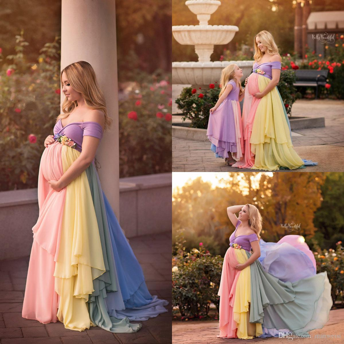 2018 Rainbow Plus Size Pregnant Formal Dresses Flower Off The Shoulder  Cheap Chiffon Maternity Dress A Line Prom Evening Gowns Plus Sizes Dresses  Prom Dress ... eebb7f21e357