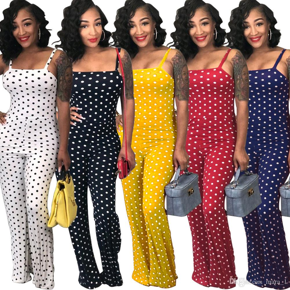 8d1b6f066d40 2019 Plus Size Women Designer Clothes Loose Jumpsuits Summer Spaghetti  Strap Rompers Trendy Sexy Night Club Polka Dot Overalls Bodysuit For Girls  From ...
