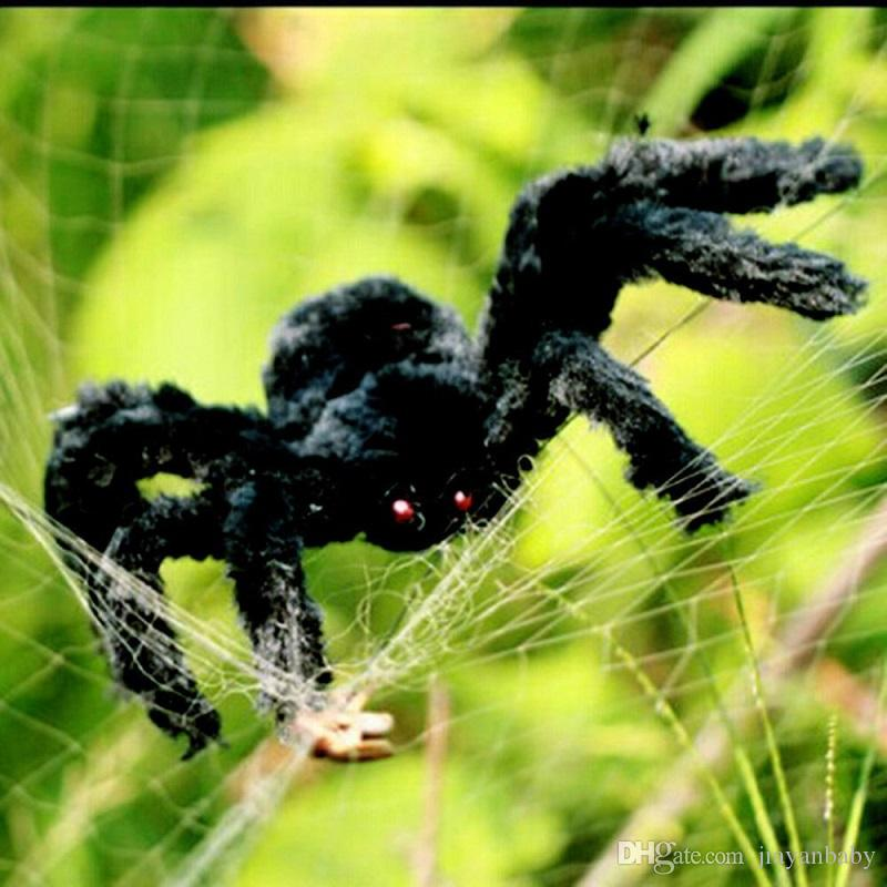DHL free shipping Halloween prop spider stuffed toys haunted house decor Horrible Big Black Furry Fake Spider 30cm 50cm 75cm