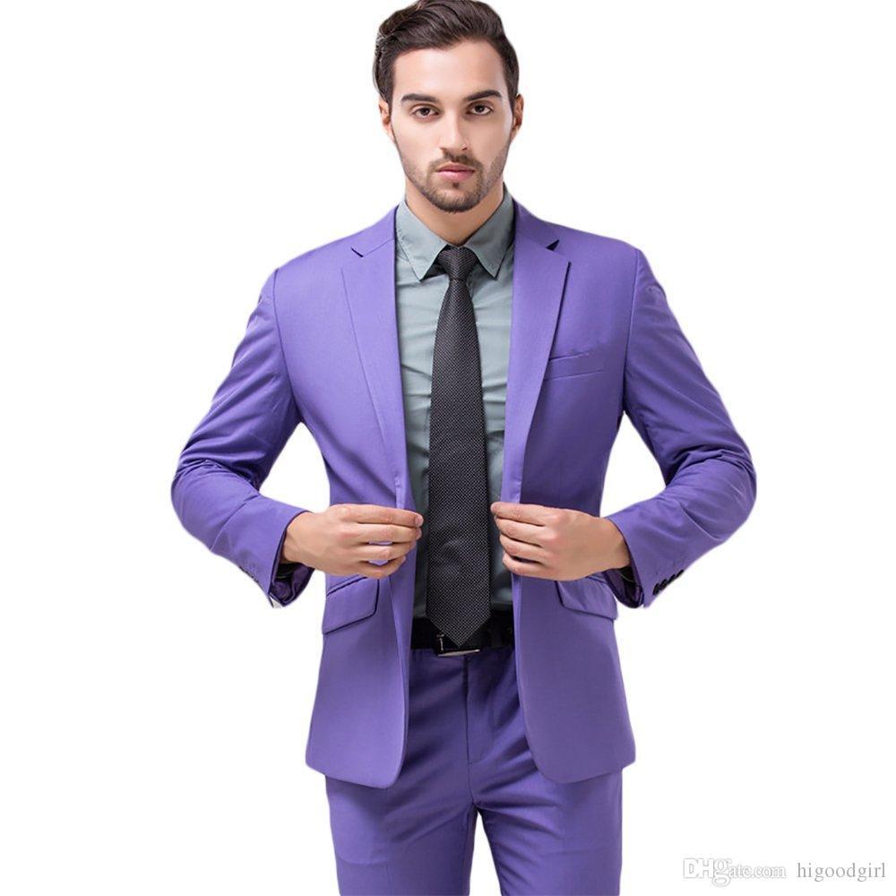 Purple Wedding Groom Tuxedos Violet Men Suits Custom Made Formal Suit for Men Wedding Bestmen Tuxedos Jacket+Tie+Vest+Pants