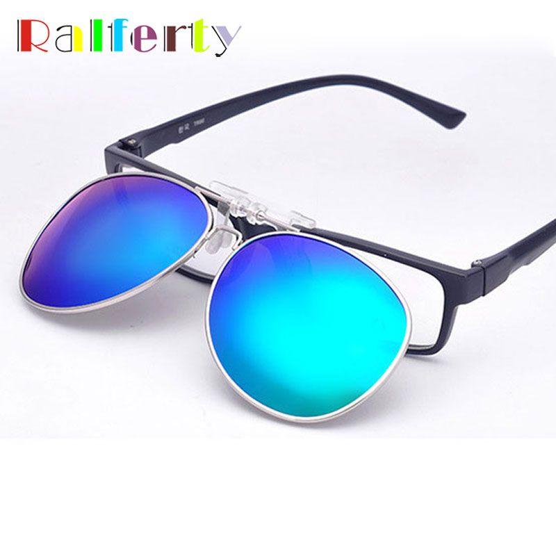 1a204537e4 Ralferty Pilot Mirrored Polarized Clip On Sunglasses Men Women Flip Up Lens  Driving Polaroid Fit Over Glasses Myopia Clip Oculo Wholesale Sunglasses  Cool ...