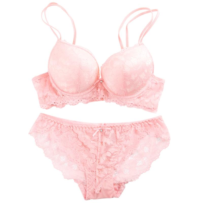 a77a17ffd98 2019 New 2018 Lace Embroidery Bra Set Women Plus Size Push Up Underwear Set  Bra And Panty 32 34 36 38 AB Cup For Female From Vikey06