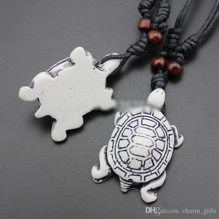 Mix style Fashion men woman Imitation Yak Bone Carved Lucky Surfing Sea Turtles Pendants Necklace