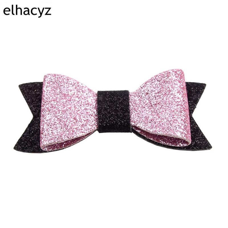 "20PCS Retai 55 Colors Chic European 3 ""Glitter Leather Hair Bow With Clips Children Hairpins Bowknot Hair Accessory Headwear"