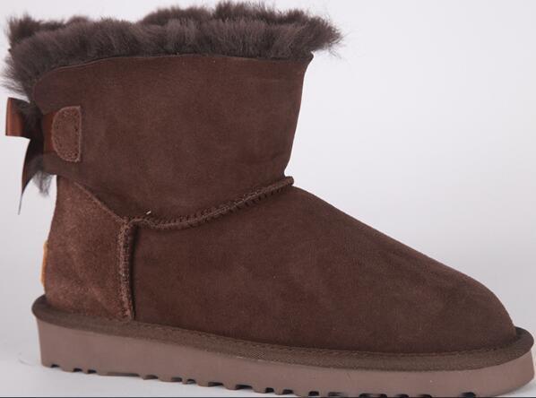 2018 58033 VENTE New Fashion Australia bottes d'hiver bas classiques en cuir véritable Bailey Bowknot femmes bottes de neige arc bowling