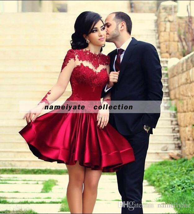 Africa Said Mhamad Crew Neck Red Lace Appliques Cocktail Dresses 2018 for Juniors A-Line Homecoming Dress formal Partys